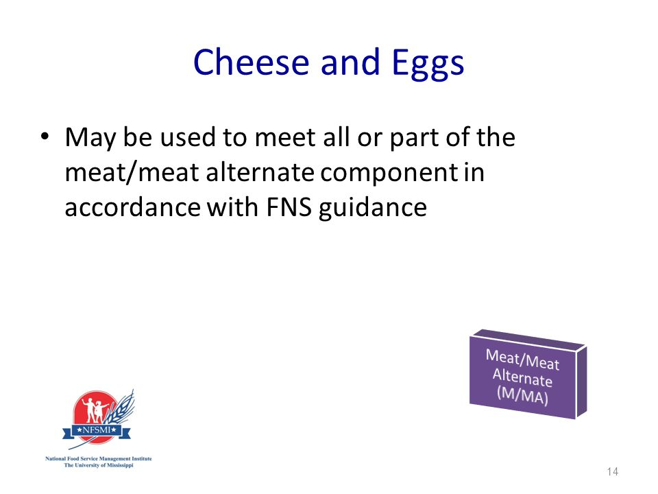 Cheese and Eggs May be used to meet all or part of the meat/meat alternate component in accordance with FNS guidance 14