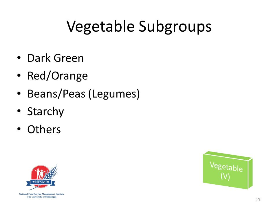 Vegetable Subgroups Dark Green Red/Orange Beans/Peas (Legumes) Starchy Others 26