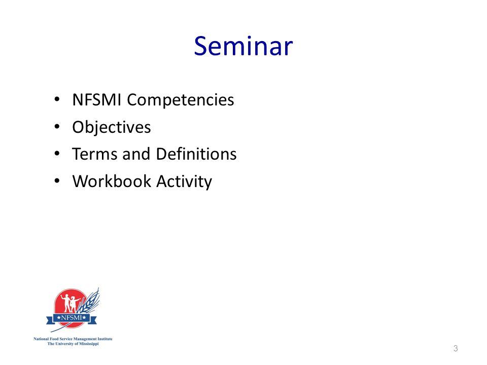 Seminar NFSMI Competencies Objectives Terms and Definitions Workbook Activity 3
