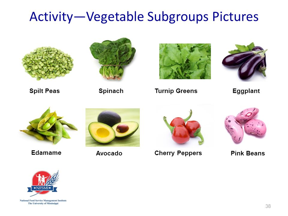 38 Spilt PeasSpinachTurnip GreensEggplant Edamame Avocado Cherry Peppers Pink Beans Activity—Vegetable Subgroups Pictures
