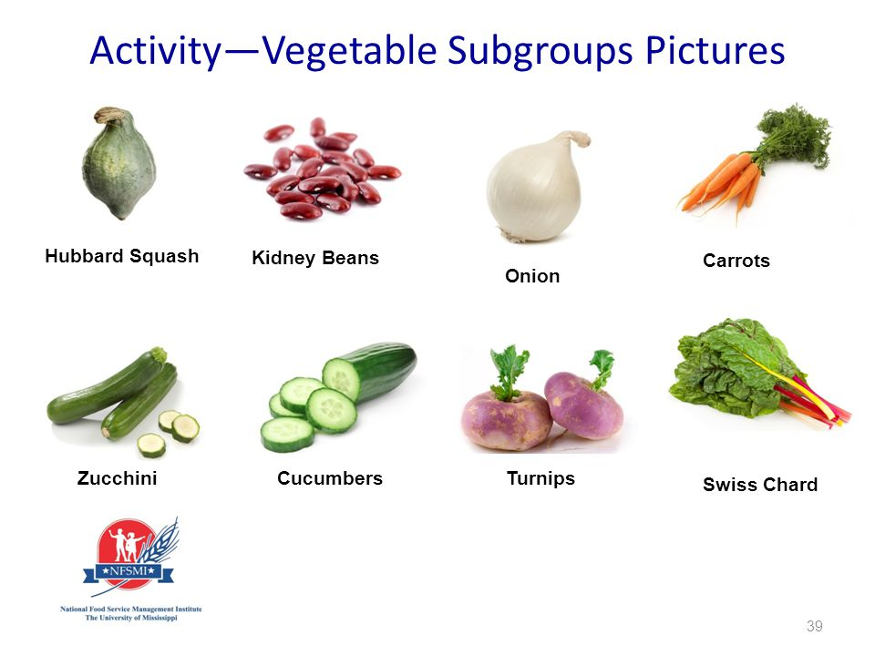 39 Hubbard Squash Kidney Beans Carrots ZucchiniCucumbers Turnips Activity—Vegetable Subgroups Pictures Onion Swiss Chard