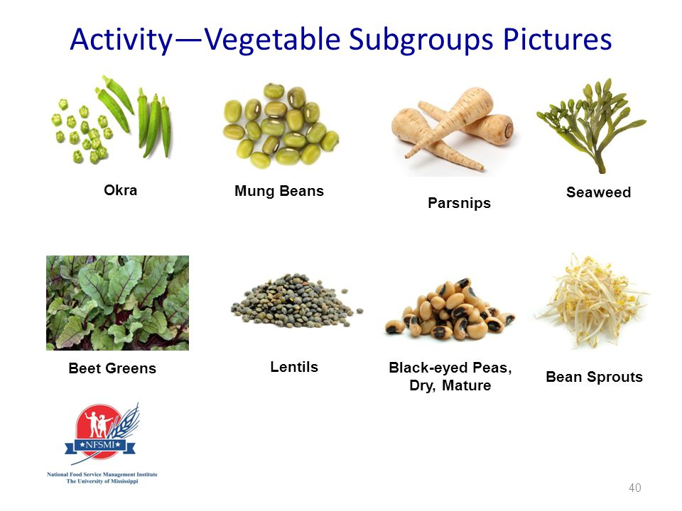 40 Okra Mung Beans Parsnips Seaweed Beet Greens Lentils Black-eyed Peas, Dry, Mature Bean Sprouts Activity—Vegetable Subgroups Pictures