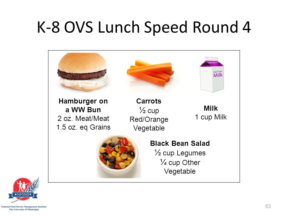 K-8 OVS Lunch Speed Round 4 Carrots ½ cup Red/Orange Vegetable Hamburger on a WW Bun 2 oz.