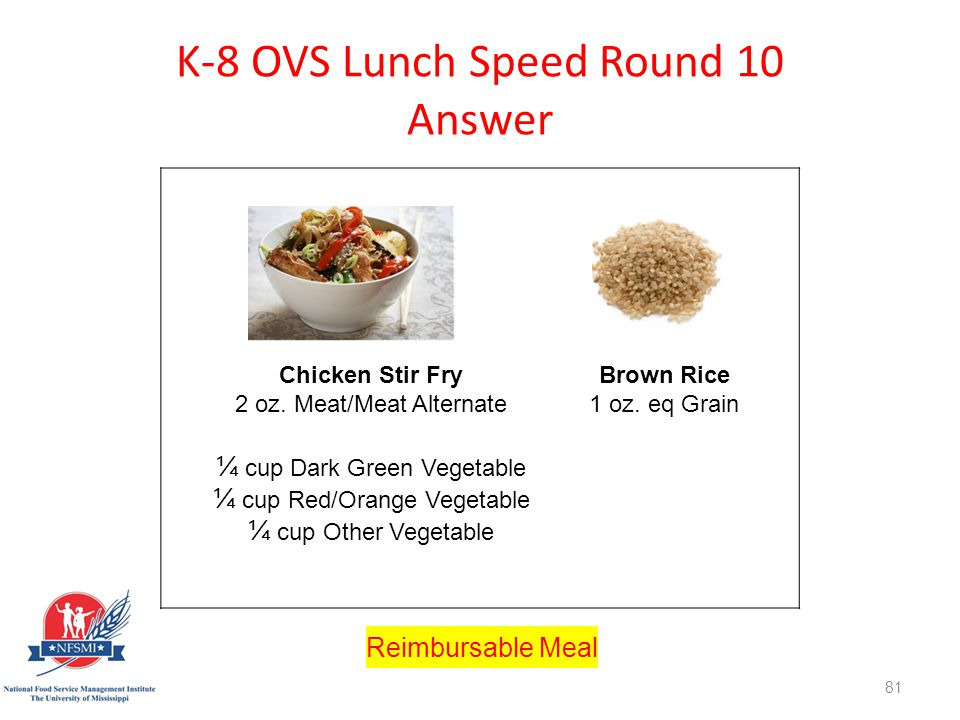K-8 OVS Lunch Speed Round 10 Answer http://www.istockphoto.com/stock-photo-8561275-stir-fry.php st=1595fe1 Chicken Stir Fry 2 oz.