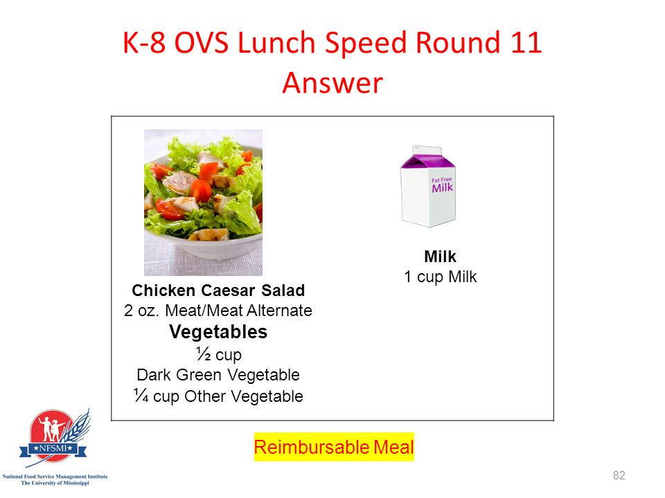 K-8 OVS Lunch Speed Round 11 Answer http://www.istockphoto.com/stock-photo-8561275-stir-fry.php st=1595fe1 Chicken Caesar Salad 2 oz.