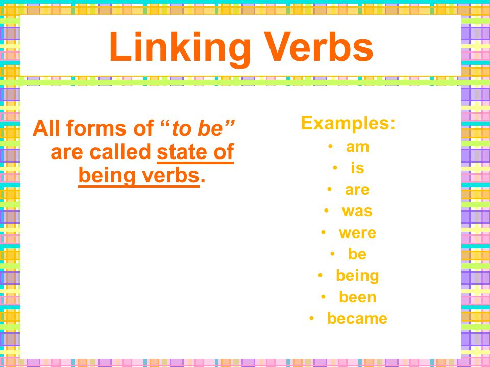 Linking Verbs… do not show an action; they show a relationship.