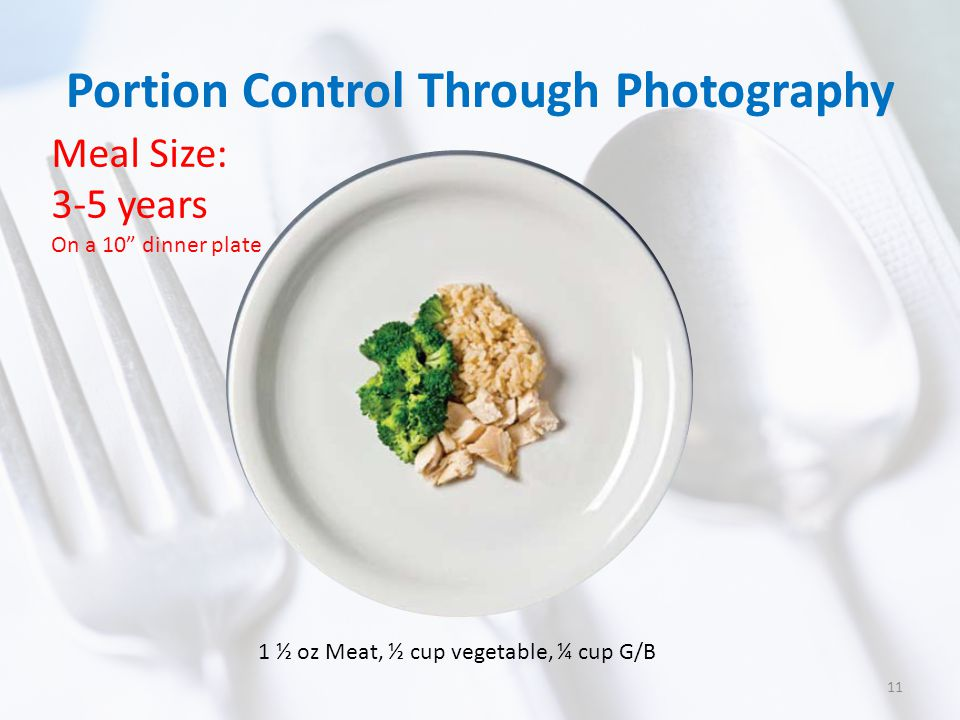 """Portion Control Through Photography Meal Size: 3-5 years On a 10"""" dinner plate 1 ½ oz Meat, ½ cup vegetable, ¼ cup G/B 11"""