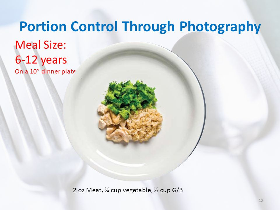 Portion Control Through Photography Meal Size: 6-12 years On a 10 dinner plate 2 oz Meat, ¾ cup vegetable, ½ cup G/B 12