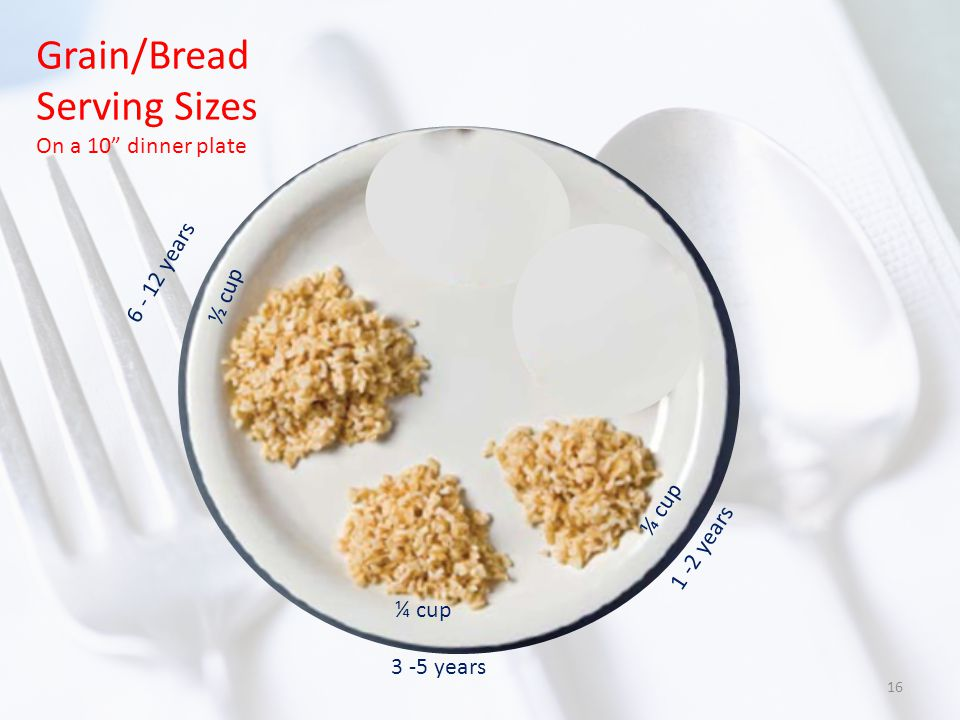 Grain/Bread Serving Sizes On a 10 dinner plate 1 -2 years ¼ cup 3 -5 years ¼ cup 6 - 12 years ½ cup 16