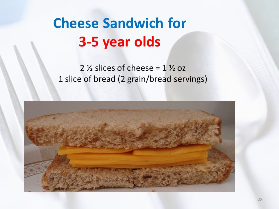 Cheese Sandwich for 3-5 year olds 2 ½ slices of cheese = 1 ½ oz 1 slice of bread (2 grain/bread servings) 28