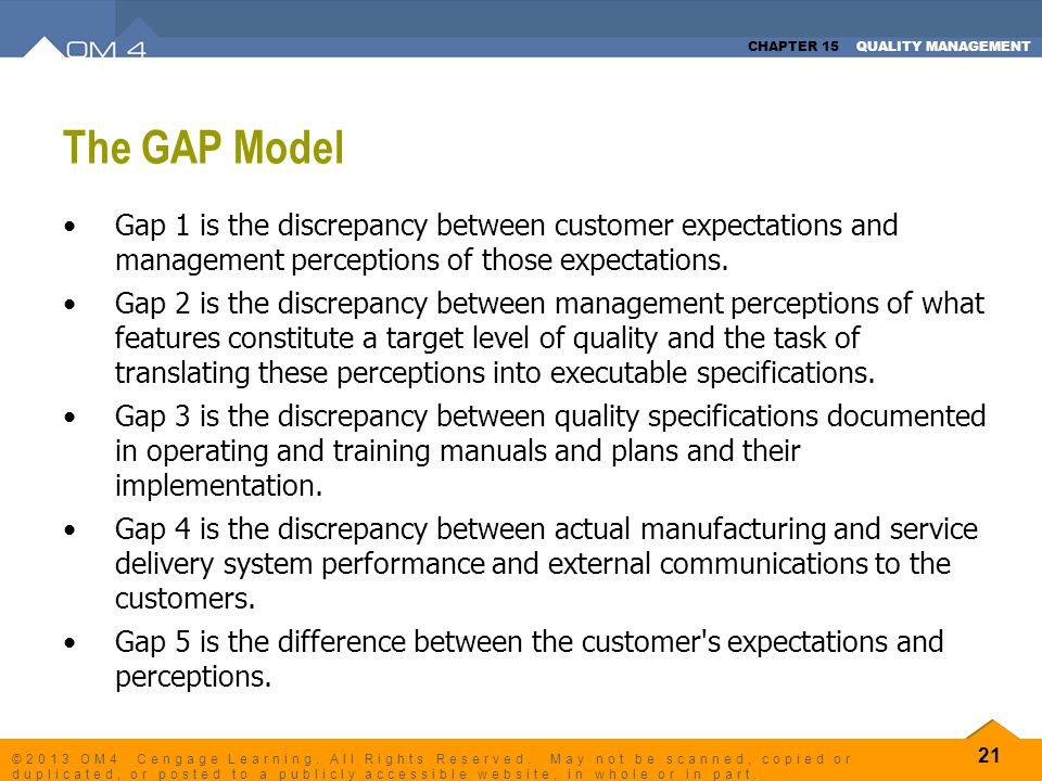 CHAPTER 15 QUALITY MANAGEMENT 21 ©2013 OM4 Cengage Learning. All Rights Reserved. May not be scanned, copied or duplicated, or posted to a publicly ac