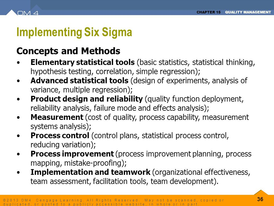 CHAPTER 15 QUALITY MANAGEMENT 36 ©2013 OM4 Cengage Learning. All Rights Reserved. May not be scanned, copied or duplicated, or posted to a publicly ac