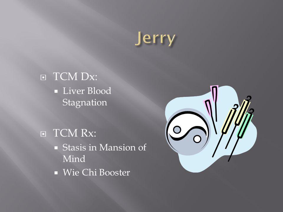  TCM Dx:  Liver Blood Stagnation  TCM Rx:  Stasis in Mansion of Mind  Wie Chi Booster