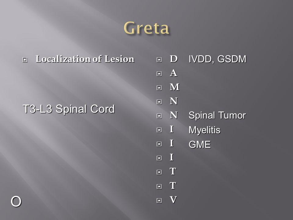  Localization of Lesion DDAAMMNNNNIIIIIITTTTVVDDAAMMNNNNIIIIIITTTTVV O T3-L3 Spinal Cord IVDD, GSDM Myeli