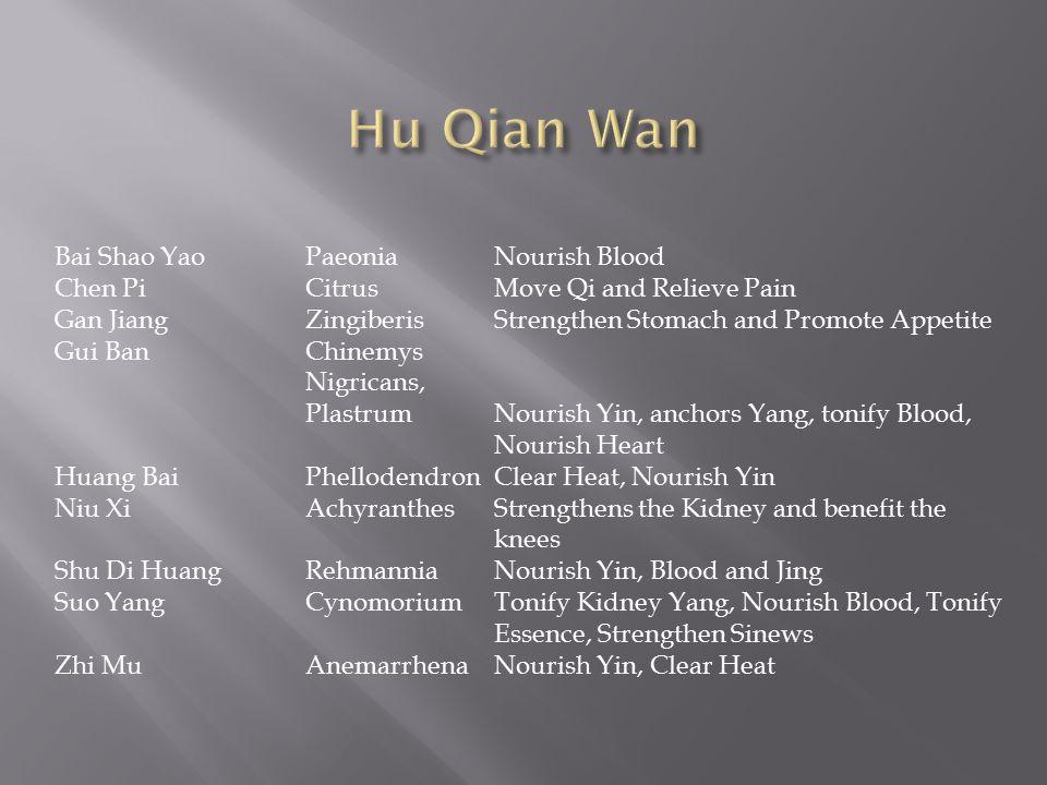 Bai Shao YaoPaeoniaNourish Blood Chen PiCitrusMove Qi and Relieve Pain Gan JiangZingiberisStrengthen Stomach and Promote Appetite Gui BanChinemys Nigr