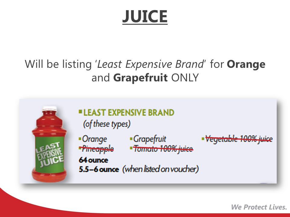Will be listing 'Least Expensive Brand' for Orange and Grapefruit ONLY JUICE