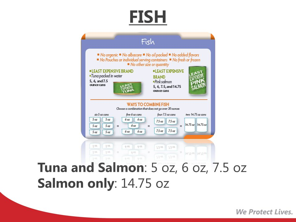 New Voucher Wording Current Voucher Wording FISH: No more than 30 oz (canned tuna OR canned salmon) FISH: 29 to 30 oz (canned tuna OR canned salmon) FISH