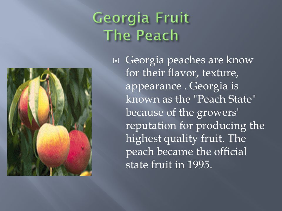  Georgia peaches are know for their flavor, texture, appearance.