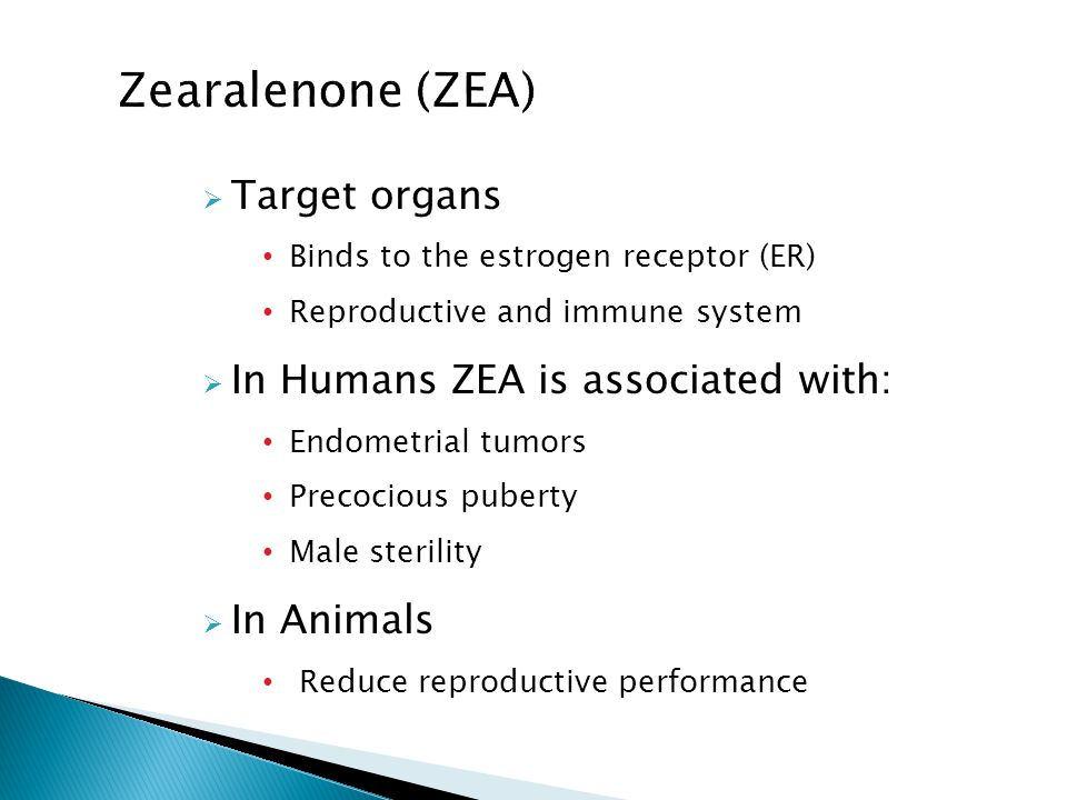  Target organs Binds to the estrogen receptor (ER) Reproductive and immune system  In Humans ZEA is associated with: Endometrial tumors Precocious puberty Male sterility  In Animals Reduce reproductive performance