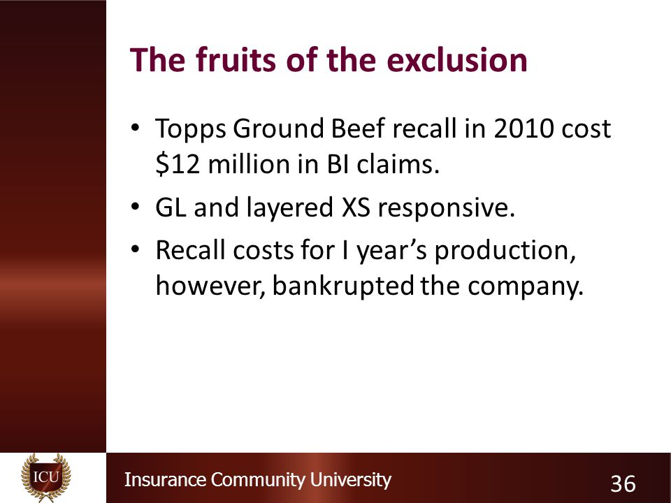 Insurance Community University The fruits of the exclusion Topps Ground Beef recall in 2010 cost $12 million in BI claims.