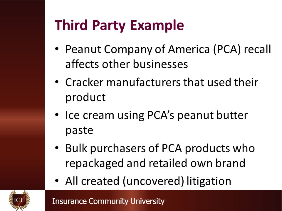Insurance Community University Peanut Company of America (PCA) recall affects other businesses Cracker manufacturers that used their product Ice cream using PCA's peanut butter paste Bulk purchasers of PCA products who repackaged and retailed own brand All created (uncovered) litigation Third Party Example
