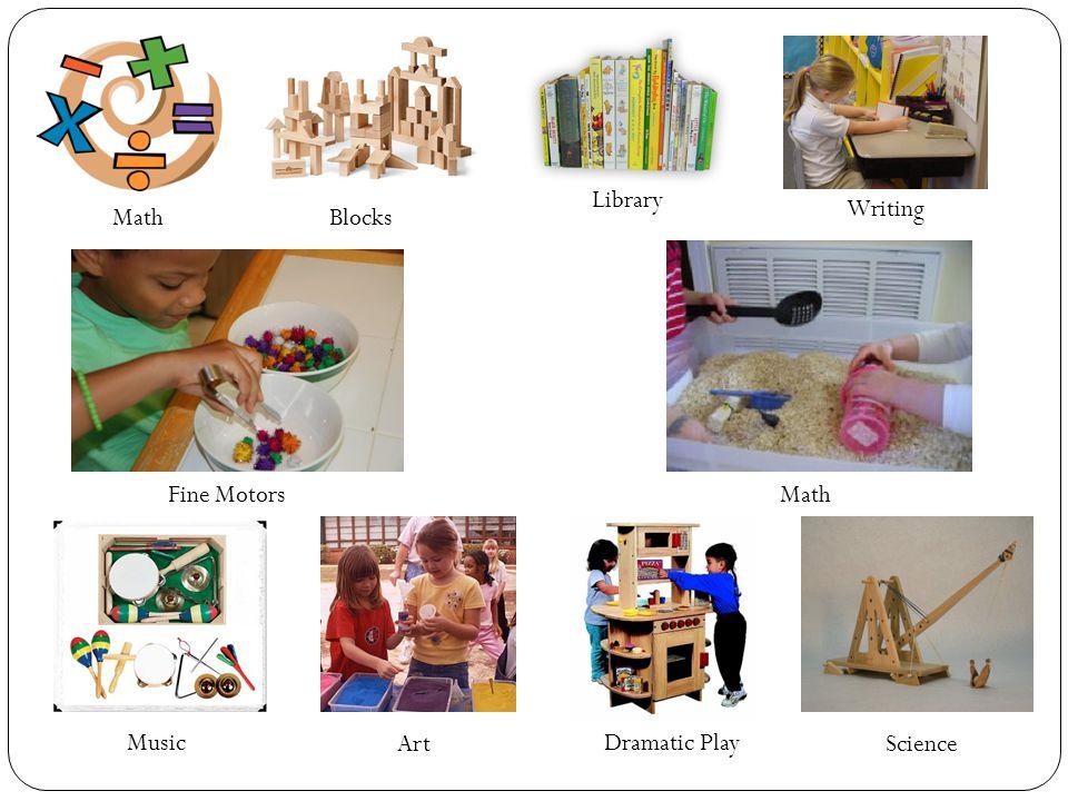 Math Science Dramatic Play Art Music MathFine Motors Writing Blocks Library