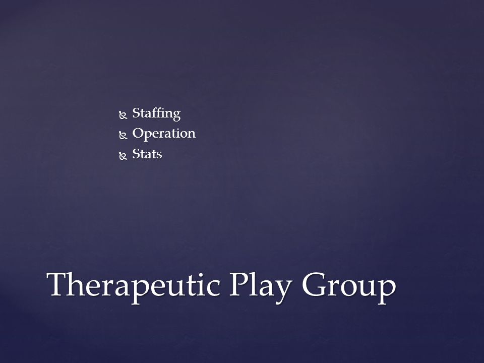  Staffing  Operation  Stats Therapeutic Play Group