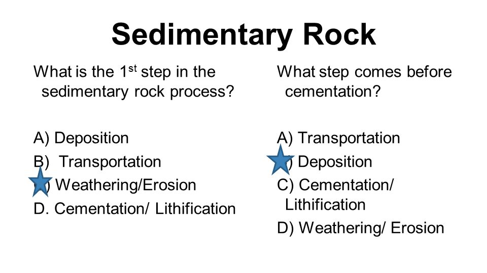 Sedimentary Rock What is the 1 st step in the sedimentary rock process.