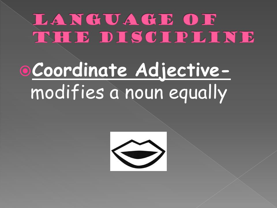  Coordinate Adjective- modifies a noun equally