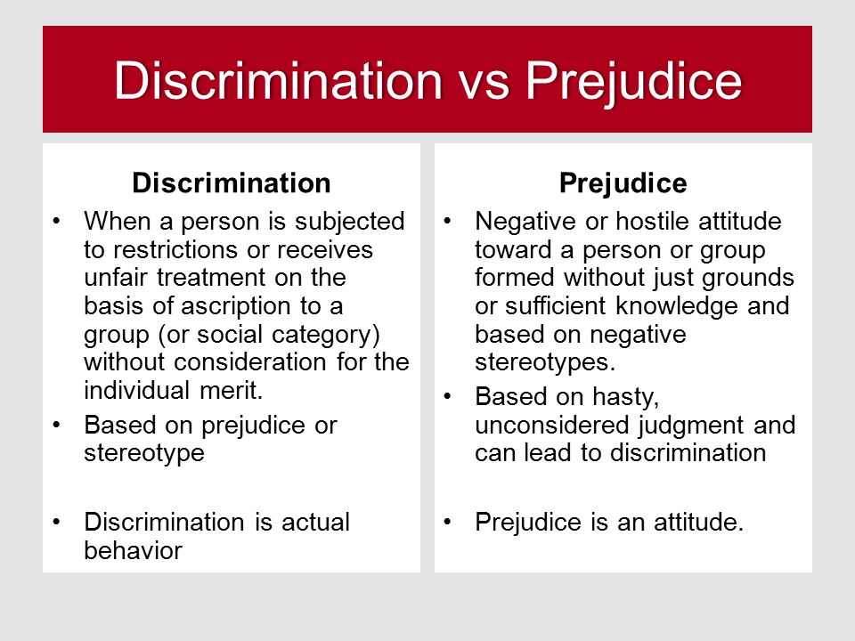 Discrimination vs PrejudiceDiscrimination vs Prejudice Discrimination When a person is subjected to restrictions or receives unfair treatment on the b