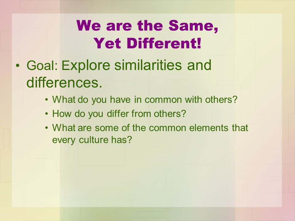 We are the Same, Yet Different! Goal: E xplore similarities and differences. What do you have in common with others? How do you differ from others? Wh