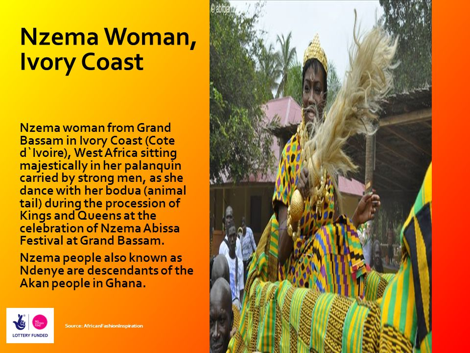 Nzema Woman, Ivory Coast Nzema woman from Grand Bassam in Ivory Coast (Cote d`Ivoire), West Africa sitting majestically in her palanquin carried by st