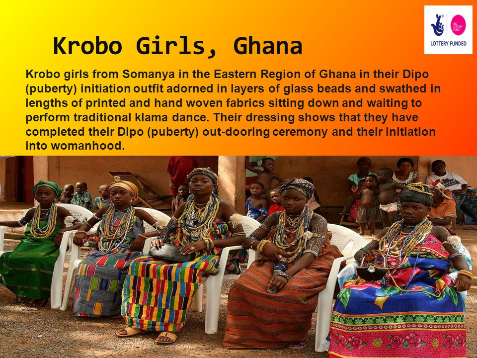 Krobo Girls, Ghana Krobo girls from Somanya in the Eastern Region of Ghana in their Dipo (puberty) initiation outfit adorned in layers of glass beads