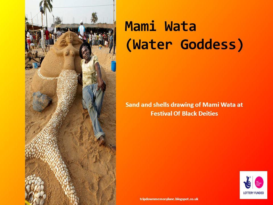 Mami Wata (Water Goddess) Sand and shells drawing of Mami Wata at Festival Of Black Deities tripdownmemorylane.blogspot.co.uk