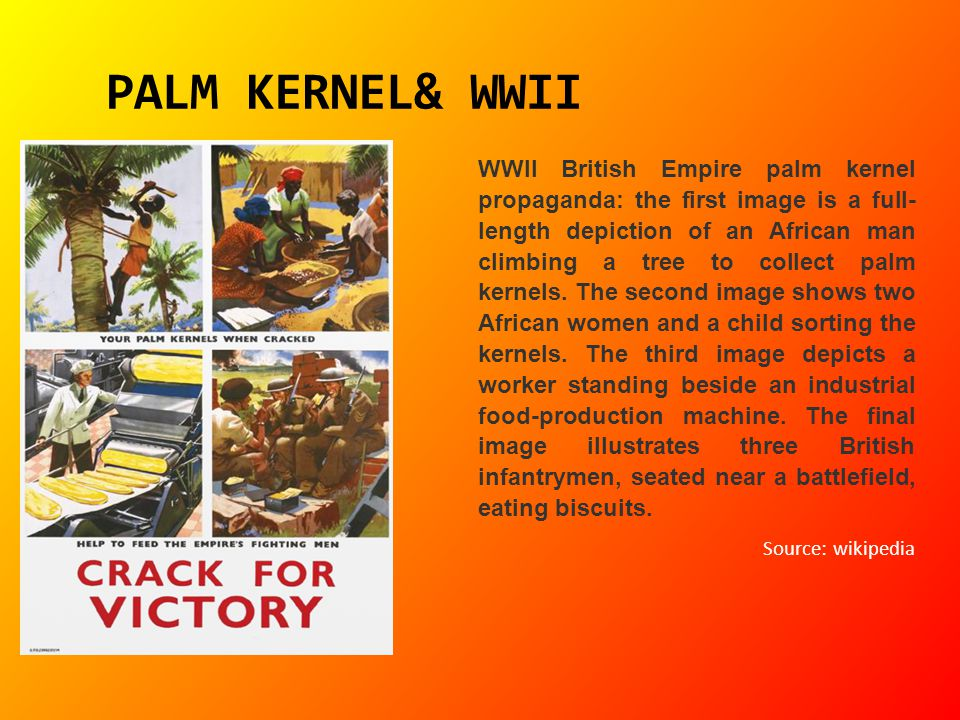PALM KERNEL& WWII WWII British Empire palm kernel propaganda: the first image is a full- length depiction of an African man climbing a tree to collect