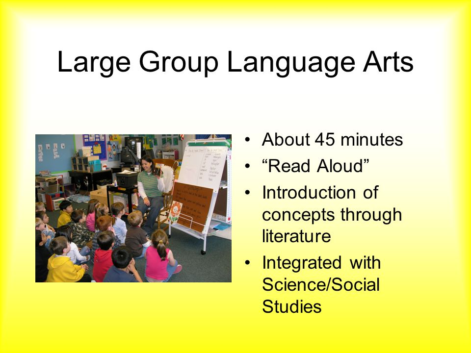 Large Group Language Arts About 45 minutes Read Aloud Introduction of concepts through literature Integrated with Science/Social Studies
