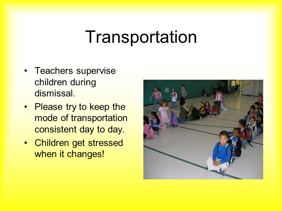 Transportation Teachers supervise children during dismissal.