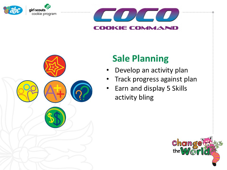 Sale Planning Develop an activity plan Track progress against plan Earn and display 5 Skills activity bling