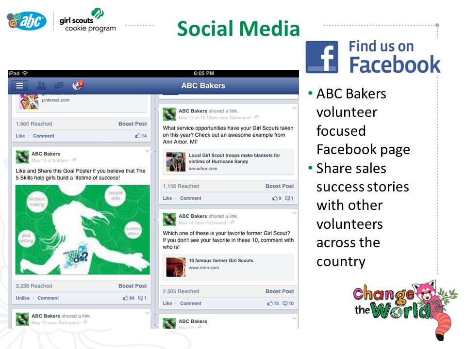 ABC Bakers volunteer focused Facebook page Share sales success stories with other volunteers across the country Social Media