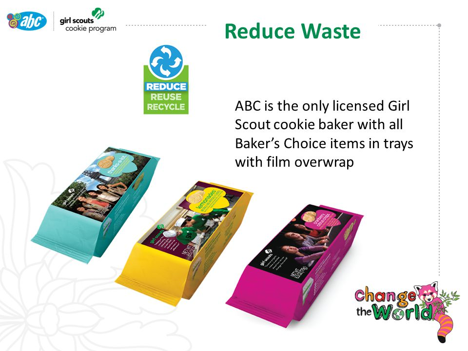 ABC is the only licensed Girl Scout cookie baker with all Baker's Choice items in trays with film overwrap Reduce Waste