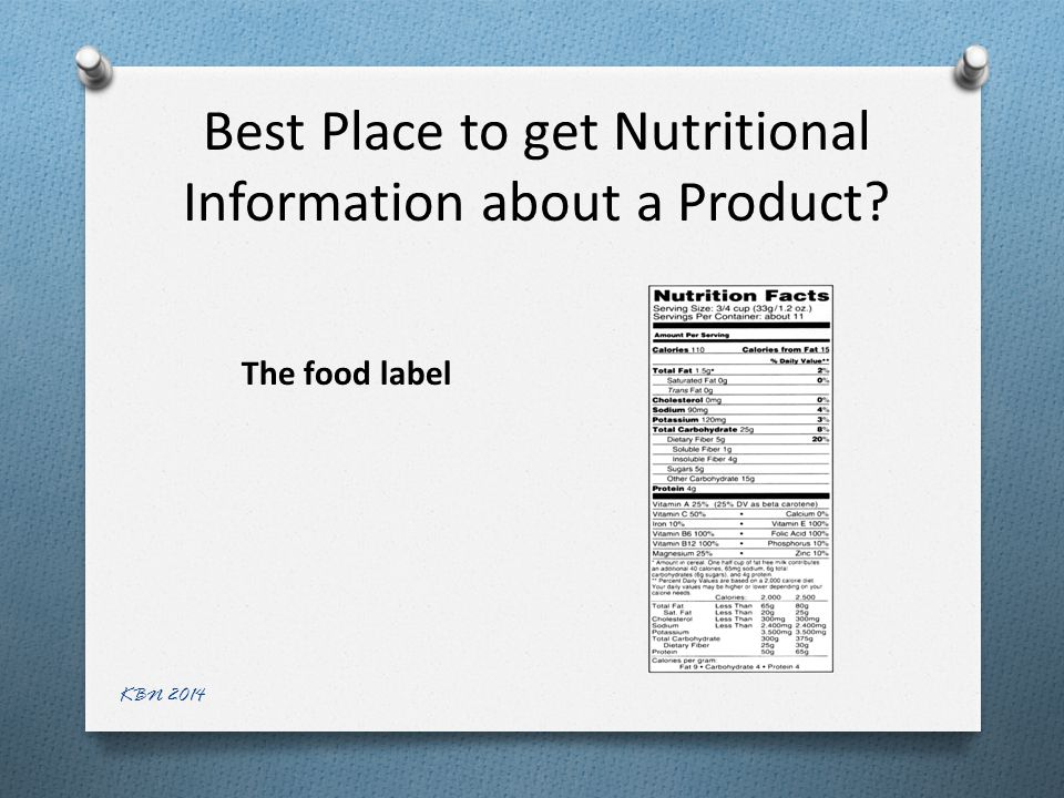 Best Place to get Nutritional Information about a Product The food label KBN 2014
