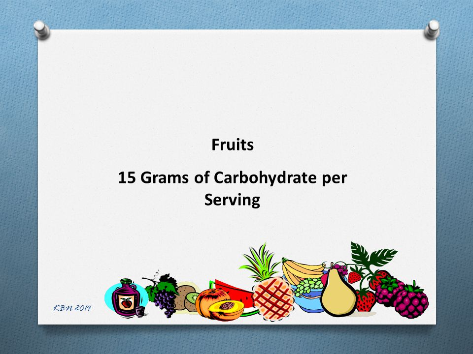 Fruits 15 Grams of Carbohydrate per Serving KBN 2014