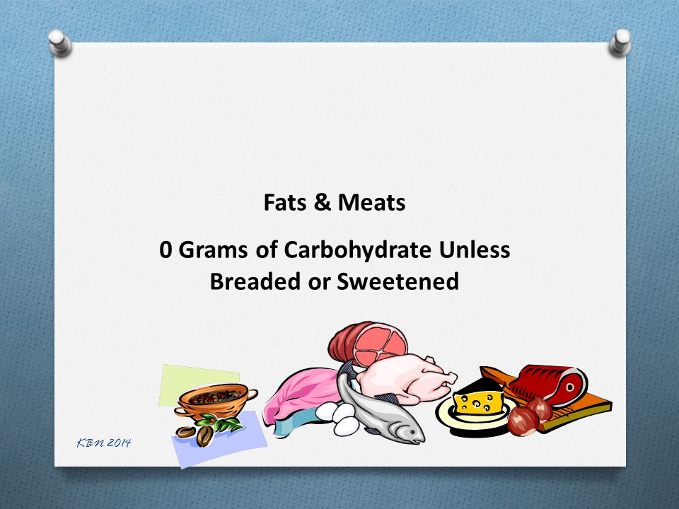 Fats & Meats 0 Grams of Carbohydrate Unless Breaded or Sweetened KBN 2014
