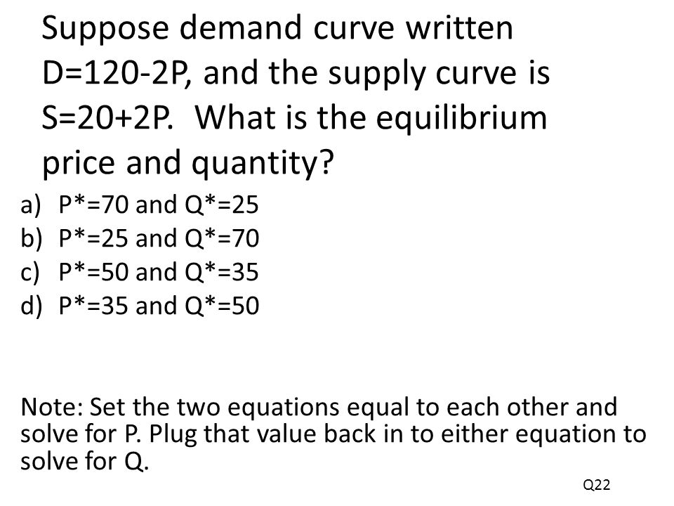 Suppose demand curve written D=120-2P, and the supply curve is S=20+2P.