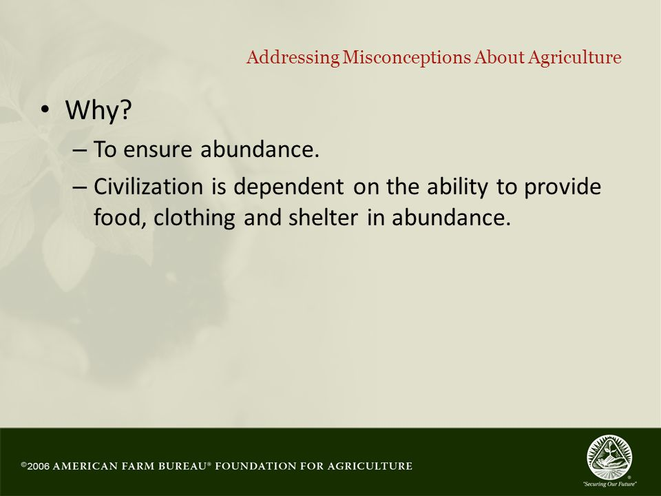 35 Addressing Misconceptions About Agriculture Why.