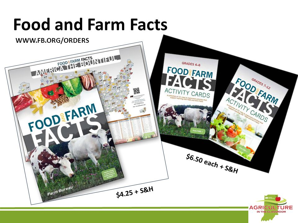 Food and Farm Facts WWW.FB.ORG/ORDERS $4.25 + S&H $6.50 each + S&H