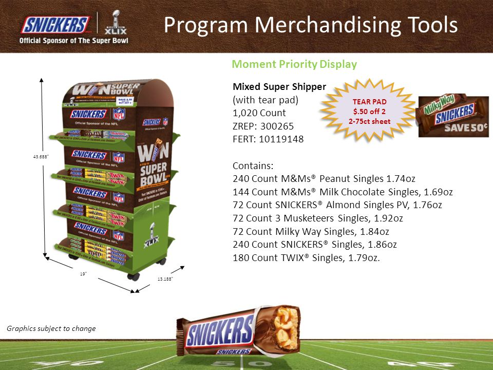 Program Merchandising Tools Mixed Super Shipper (with tear pad) 1,020 Count ZREP: 300265 FERT: 10119148 Contains: 240 Count M&Ms® Peanut Singles 1.74o