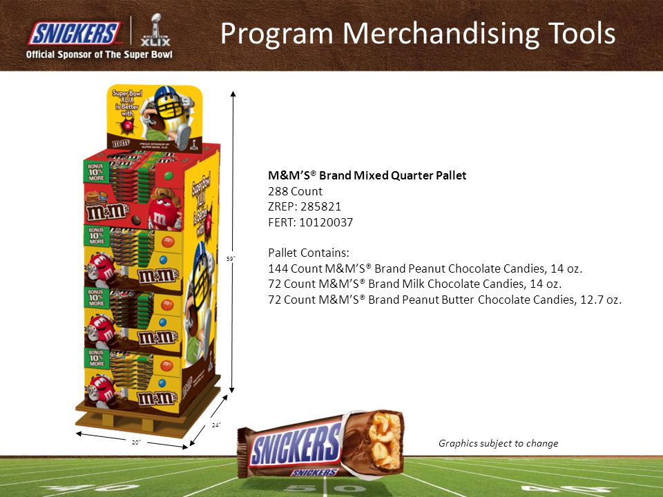 M&M'S® Brand Mixed Quarter Pallet 288 Count ZREP: 285821 FERT: 10120037 Pallet Contains: 144 Count M&M'S® Brand Peanut Chocolate Candies, 14 oz. 72 Co