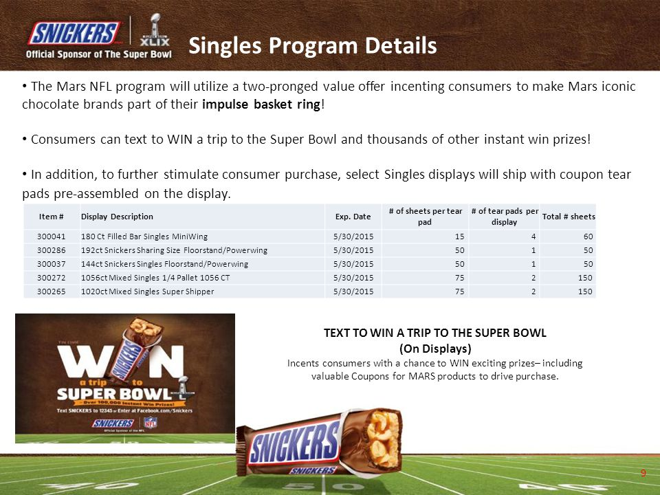 Singles Program Details The Mars NFL program will utilize a two-pronged value offer incenting consumers to make Mars iconic chocolate brands part of t