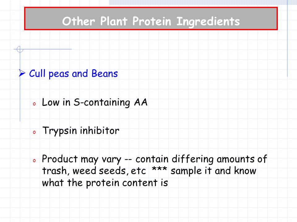 Other Plant Protein Ingredients  Cull peas and Beans o Low in S-containing AA o Trypsin inhibitor o Product may vary -- contain differing amounts of trash, weed seeds, etc *** sample it and know what the protein content is